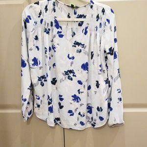 Blue floral Banana Republic blouse